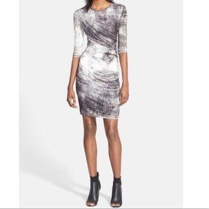 Helmut Lang Nova Print Ruched Jersey Dress
